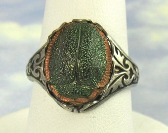 Art Deco Vintage Glass Scarab Adjustable Ring with Antique Silver Filagree Band