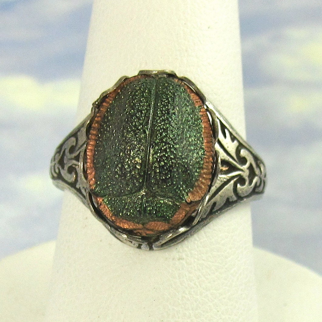 deco vintage glass scarab adjustable ring with antique