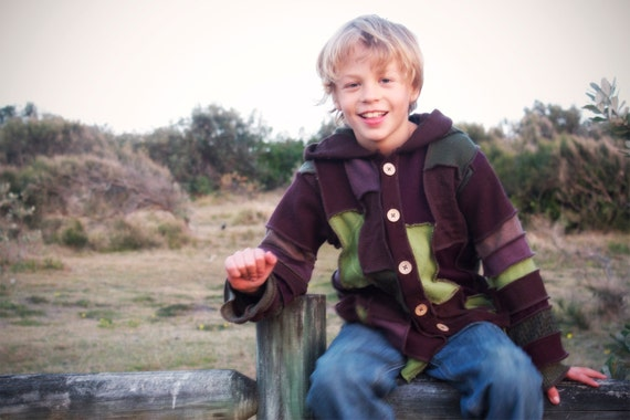 """RESERVED for lunaozidreams  Boys Gypsy Coat  """"Earth Dreaming""""  Hoodie.  Children sizes 6"""