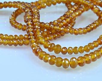 Spessarite Garnet Rondelles Micro Faceted AAA Spessarite Garnet Beads 8 inches