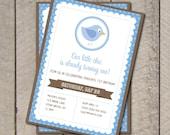 Birdie Birthday Party Invitation - Blue & Brown Bird Invite - Digital Printable Invite
