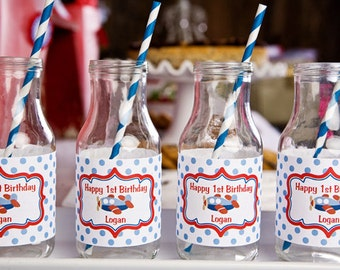 Airplane Themed Water Bottle Labels - Children's Airplane Birthday Party Decorations in Blue and Red (12)