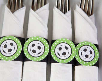 Soccer Party - Napkin Rings - Silverware Wraps - Soccer Party Decorations in Green & Black (12)