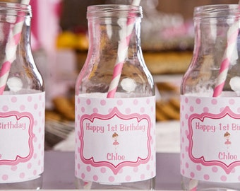 Girls Birthday Party - Ballerina Party Water Bottle Labels (set of 12)
