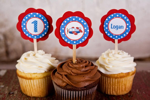 Boys First Birthday - Children's Airplane Theme Cupcake Toppers