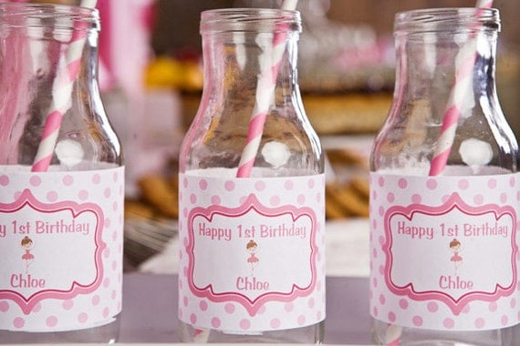 Girls birthday party ballerina party water bottle labels for Ballerina party decoration