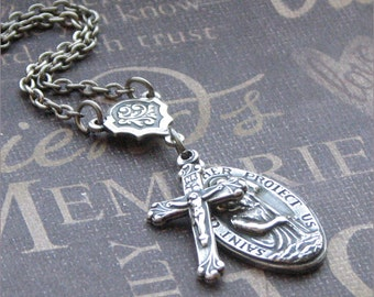 Silver Religious Medal Necklace - Enchanted Traveler - Jewelry by TheEnchantedLocket - CATHOLIC Confirmation Bride Anniversary Wedding Gift