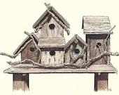 birdhouses (original drawing)