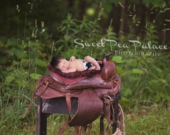 Newborn Baby Photography Prop Digital Backdrop for Photographers Little Cowboy Cowgirl