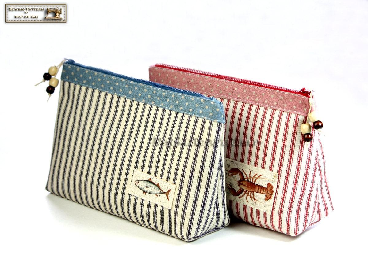 Bag Patterns : Cosmetic bag sewing pattern makeup bag pattern by NapkittenPattern