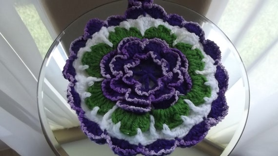 Beautiful Round 3-D Purple White and Green Doily/ Potholder