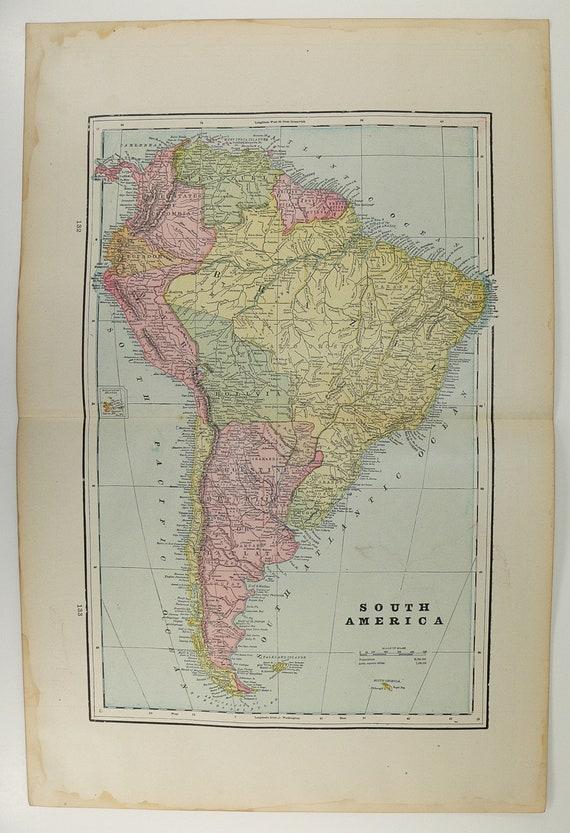 Antique 1894 Map of South America Cuba Bahama Islands Jamaica Haiti San Domingo Florida Keys