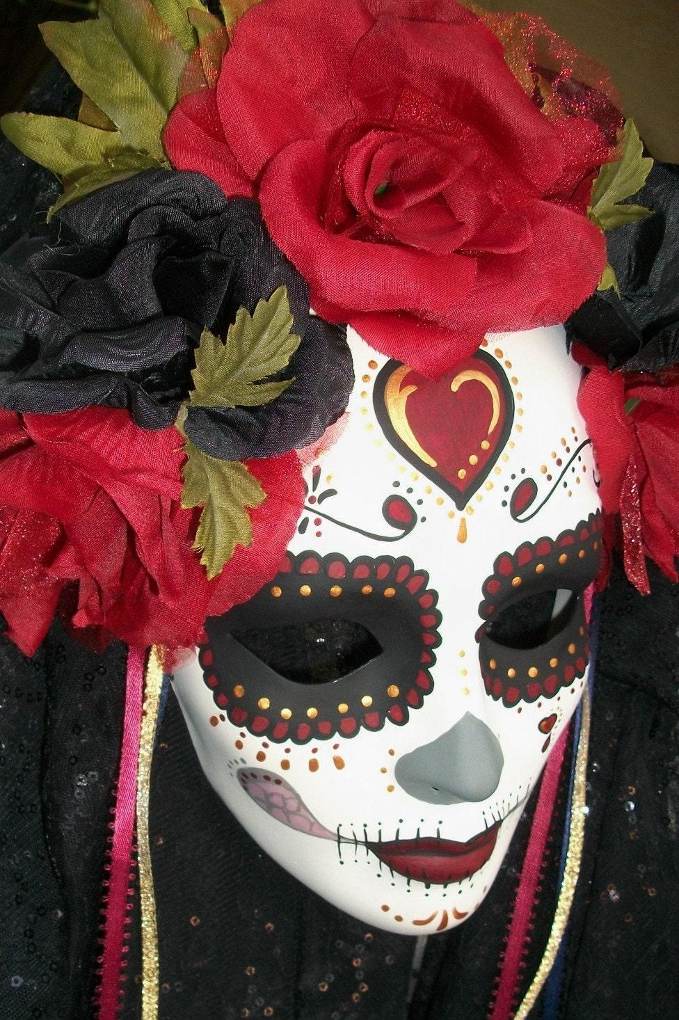 Dia de Los Muertos Day of the Dead Beautiful Catrina Mask