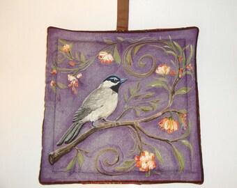Bird print pot holder - purple