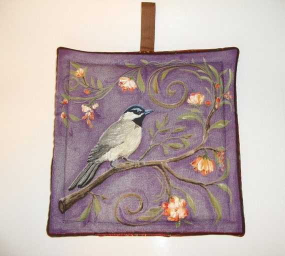 Bird print pot holder - purple