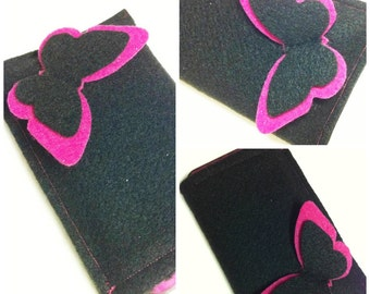 Eco Friendly Felt Gadget Cozy - Pink Butterfly