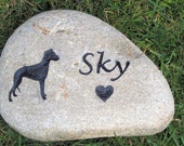 Custom Pet Memorial Stone Whippet & Other Breeds Too 6-7 Inch Memorial Cemetery Burial Tombstone Grave Marker