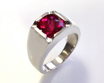 Mens Stunning Antique Cushion Checkerboard Cut Ruby Ring in Solid Sterling Silver