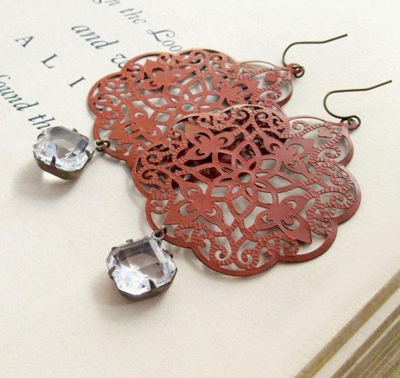 Pumpkin Earrings Filigree Earrings Lace Earrings Rhinestone Earrings Boho Earrings Vintage Glass Autumn Rustic Silk Road - Pumpkin Spice