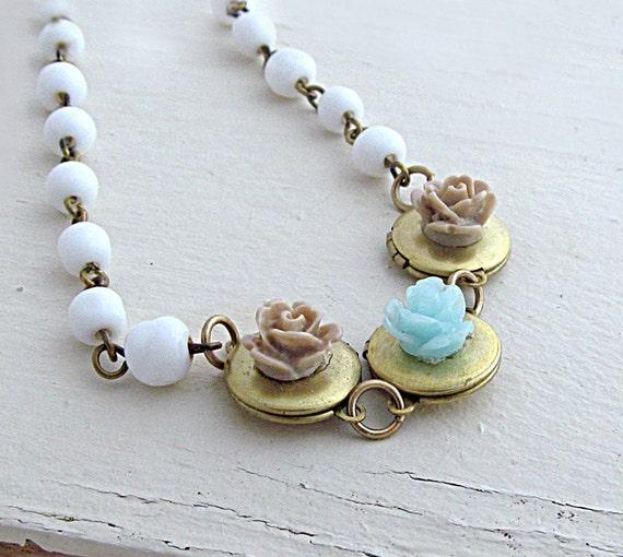 Flower Locket Necklace Mint Rose Necklace Triple Locket Necklace Family Necklace White Beaded Chain Wedding Bride - Keepsake Garden