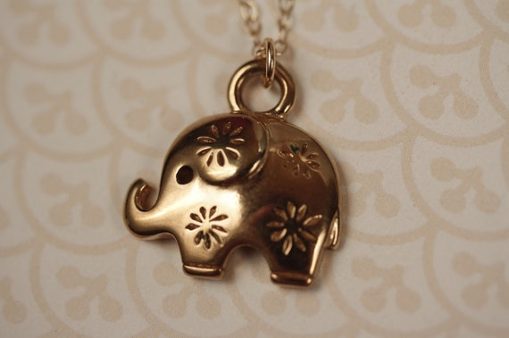 Vintage Trifari Elephant Necklace with Small Flowers on 14kt Gold Filled Chain, Animal Pendant, Upcycled Jewelry, Little Girl, Teen, Women