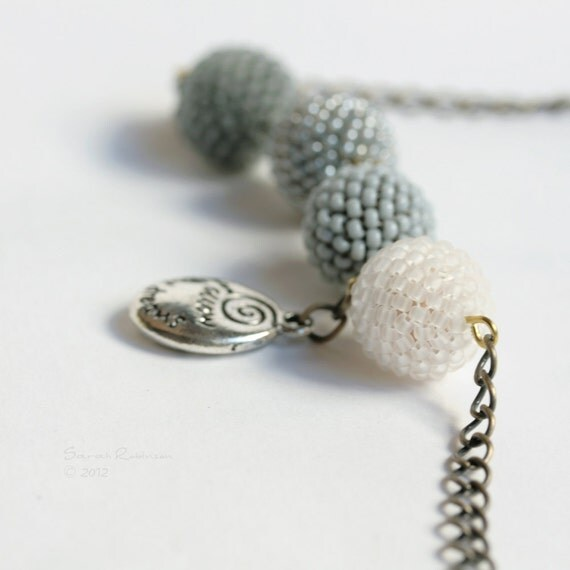 Gray Beaded Beads Necklace White Silver Follow Your Dreams