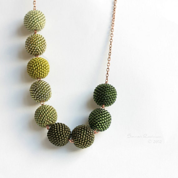 Forest Green Gradient Necklace Beaded Beads Moss to Pine