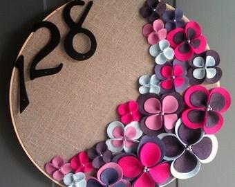 Linen Hoop Felt Handmade Door Decoration - Grape Jelly 14in