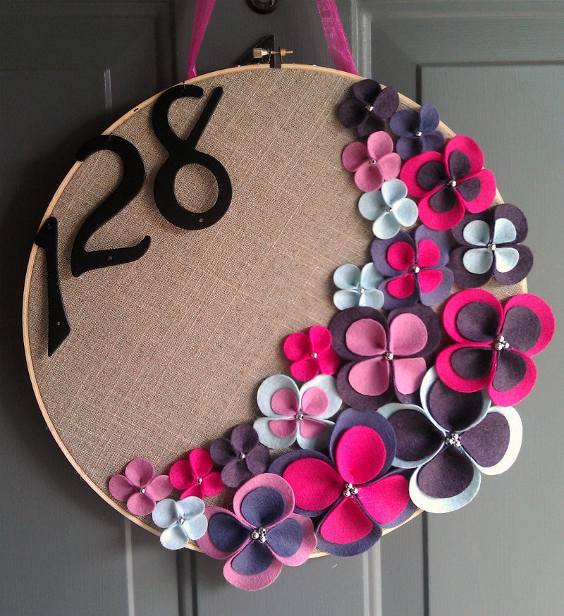 Linen hoop felt handmade door decoration grape jelly 14in for Handmade things for decoration