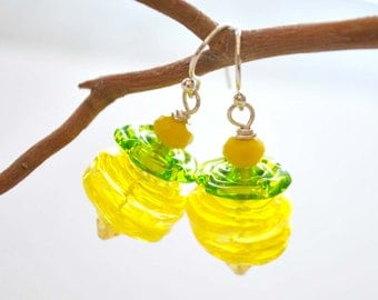 Lemon Lime Ripple Earrings,  Spring Jewelry, LIght Weight Hollow Glass on Sterling Silver Ear Wires