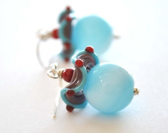 Blue Carnival Glass Earrings on Sterling Silver, Lampwork Glass Earrings