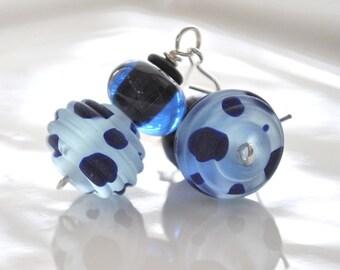 Spotted Blue Glass Earrings, Polka Dot Earrings, Lampwork Earrings, Navy Blue Earrings