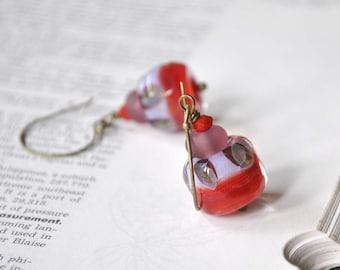 Modern Watermelon Lampwork Earrings, Red Purple Glass Earrings