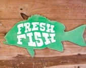 Fresh Fish Farm House Vintage Inspired Wood Sign Small Green & White SHOW SAMPLE Wholesale Price