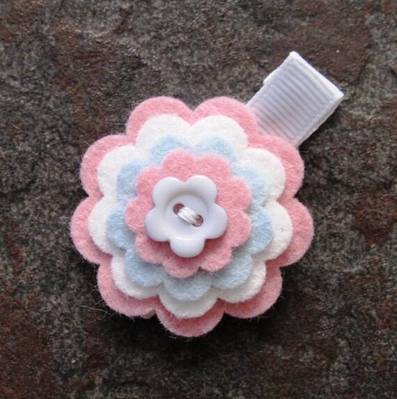 Wool Felt Flower Hair Clip- Rose Pink, White, Light Blue with Blue Flower Button Center