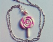 Pink Girly Lollipop Necklace