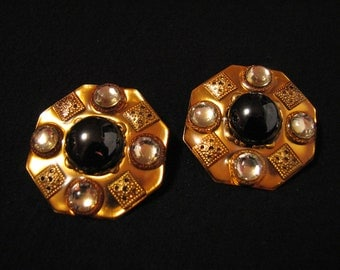 BIG Vintage Patti Horn Gold Tone and Black Crystal Stone Round Enameled Clip Earrings