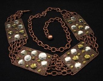 HUGE Vintage SUPER HEAVY Brassy Metal Copper Rhinestone Encrusted Floral Etched Panel Link Chain Belt