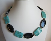 Statement Necklace with Turquoise Magnesite and Black Agate,Wedding, Rustic, Holiday Necklace, Natural Stone, Classic Jewelry, Statement.