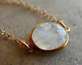 Rainbow Moonstone Bezel Necklace - 14KT Gold Fill - Simple Necklace