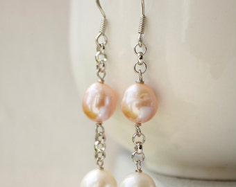 White and Pink Freshwater Pearl Earrings - Wire Wrapped - Bridal Earrings, Summer weddings - MARKED DOWN