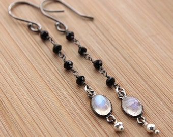 Black Spinel, Rainbow Moonstone and Silver Pyrite Earrings