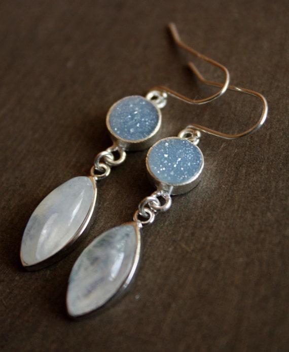 Rainbow Moonstone and Aqua Blue Druzy Earrings - Sterling Silver - July 4th Sale