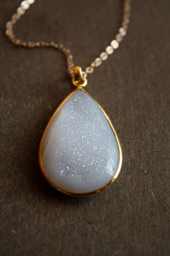 White Agate Druzy Teardrop Necklace - Large Druzy Teardrop Pendant - 14KT Gold fill