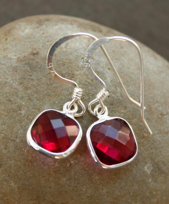 Silver Red Ruby Quartz Earrings - July Birthstone - Red Ruby Earrings, 925 Silver