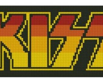 Kiss Logo Cross Stitch Printed Pattern