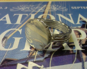 Solid SIlver Ring detailed with FIle Work aka The Mirror