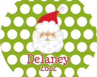 Personalized Melamine Plate--Santa with Polka Dots