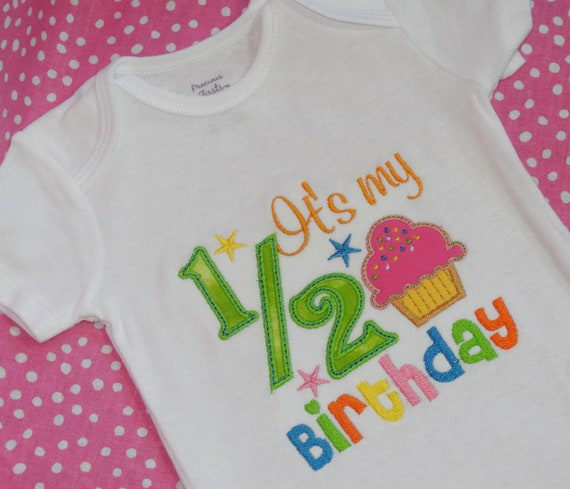Girls its my 1 2 birthday embroidered applique bodysuit or for 6 month birthday decorations