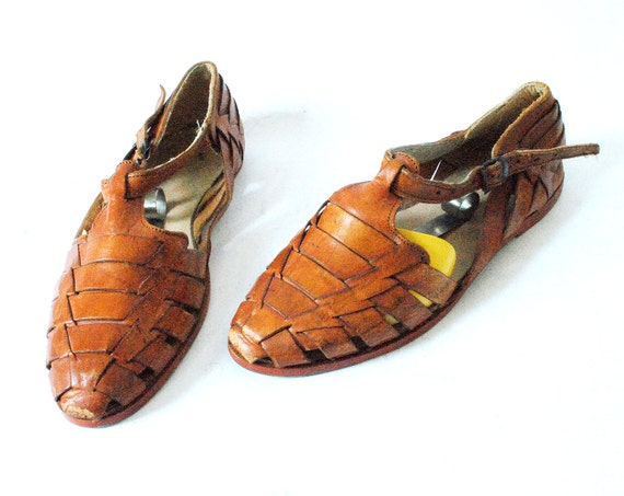 Vintage Huaraches Woven Leather Sandals Size 6.5 Light Brown